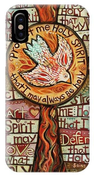 Christian Cross iPhone Case - Holy Spirit Prayer By St. Augustine by Jen Norton