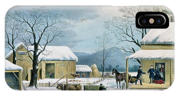 Barn Snow iPhone Case - Home To Thanksgiving by Currier and Ives