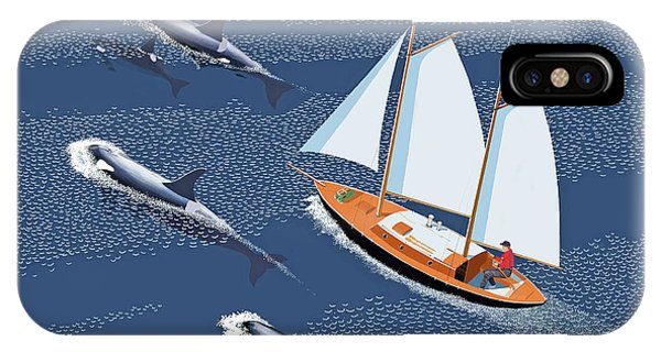 Schooner iPhone Case - In The Company Of Whales by Gary Giacomelli
