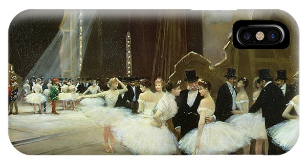 Behind The Scene iPhone Case - In The Wings At The Opera House by Jean Beraud