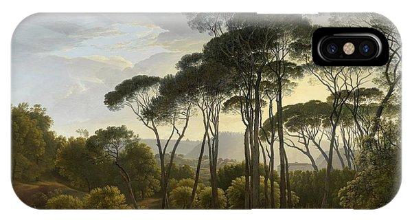 Umbrella Pine iPhone Case - Italian Landscape With Umbrella Pines, 1807 by Hendrik Voogd