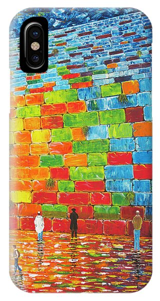 IPhone Case featuring the painting Jerusalem Wailing Wall Original Acrylic Palette Knife Painting by Georgeta Blanaru