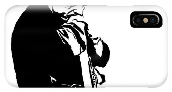 Johnny Cash iPhone Case - Johnny Cash Black And White by Dan Sproul