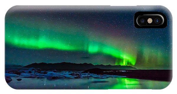 IPhone Case featuring the photograph Jokulsarlon Aurora by James Billings