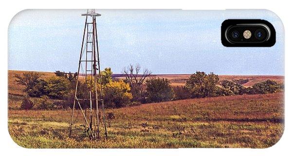 IPhone Case featuring the photograph Kansas Prairie Windmill by Anna Louise