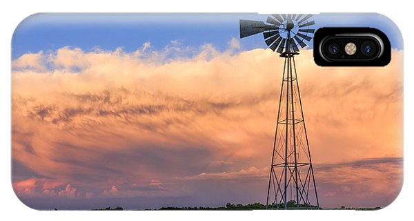 Kansas Windmill And Storm IPhone Case