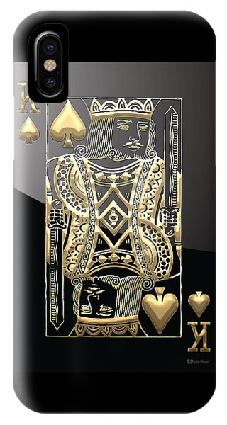 Pop Art iPhone Case - King Of Spades In Gold On Black   by Serge Averbukh