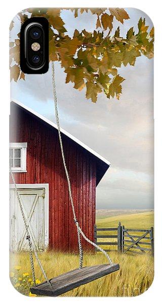Large Red Barn With Bicycle In Field Of Wheat IPhone Case