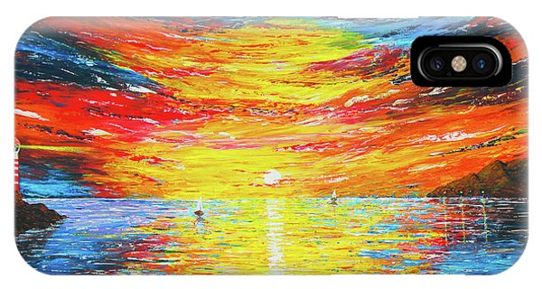 IPhone Case featuring the painting  Lighthouse Sunset Ocean View Palette Knife Original Painting by Georgeta Blanaru