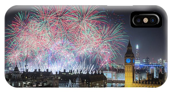 London New Year Fireworks Display IPhone Case