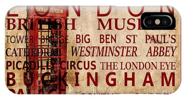 London Eye iPhone Case - London Vintage Poster Red by Delphimages Photo Creations