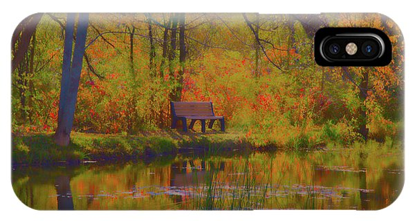 Park Bench iPhone Case - Lonely Bench by David Stasiak