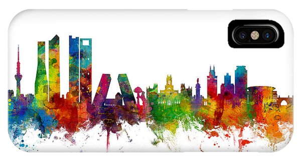 Spain iPhone Case - Madrid Spain Skyline by Michael Tompsett