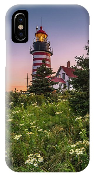 Maine West Quoddy Head Light At Sunset IPhone Case