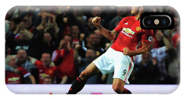 Wayne Rooney iPhone Case - Manchester United's Zlatan Ibrahimovic Celebrates by Don Kuing