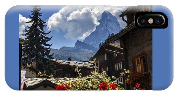 Matterhorn And Zermatt Village Houses, Switzerland IPhone Case