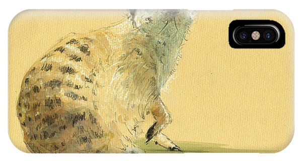 Meerkat iPhone Case - Meerkat Or Suricate Painting by Juan  Bosco