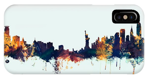 Minnesota iPhone Case - Minneapolis And New York Skylines Mashup by Michael Tompsett
