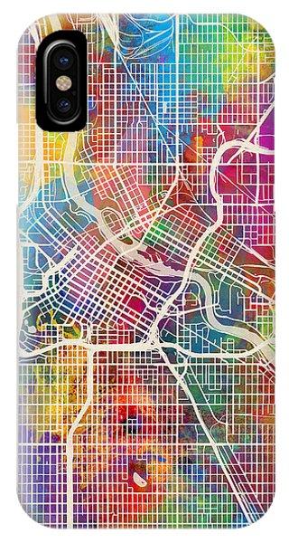 Minnesota iPhone Case - Minneapolis Minnesota City Map by Michael Tompsett