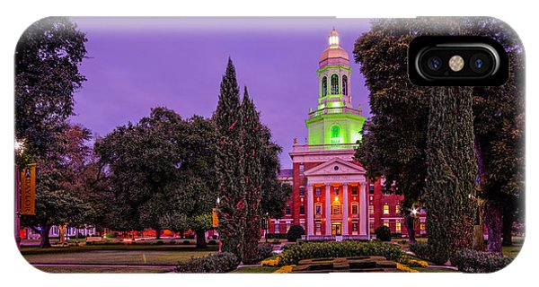 Morning Twilight Shot Of Pat Neff Hall From Founders Mall At Baylor University - Waco Central Texas IPhone Case