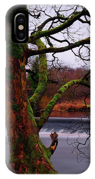 Mossy Tree Leaning Over The Smooth River Wharfe IPhone Case