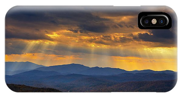 IPhone Case featuring the photograph Mountain God Rays by Ken Barrett