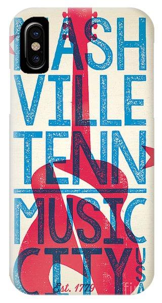 Concert iPhone Case - Nashville Poster - Tennessee by Jim Zahniser