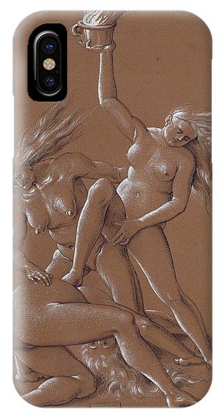 Albrecht Durer iPhone Case - New Year's Greeting With Three Witches  by Albrecht Durer