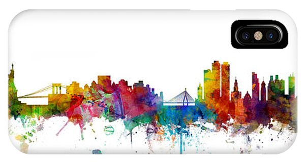 Massachusetts iPhone Case - New York And Boston Skyline Mashup by Michael Tompsett