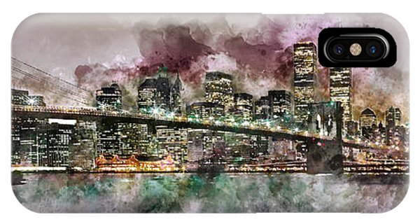 New York City Skyline Watercolor  IPhone Case