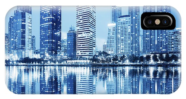 Reflection iPhone Case - Night Scenes Of City by Setsiri Silapasuwanchai