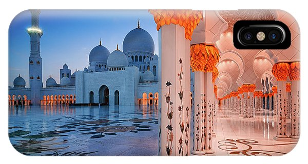 Night View At Sheikh Zayed Grand Mosque, Abu Dhabi, United Arab Emirates IPhone Case