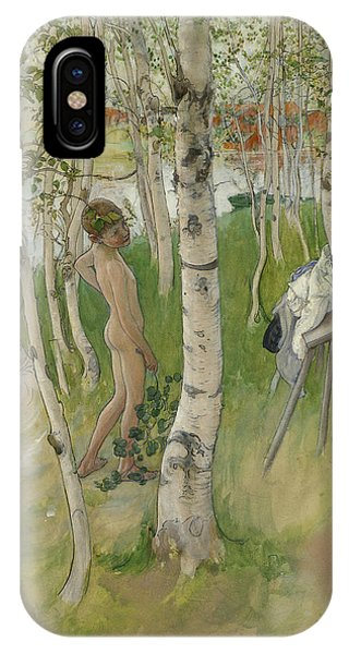 Art And Craft iPhone Case - Nude Boy Among Birches by Carl Larsson