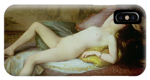Nudes iPhone X Case - Nude Lying On A Chaise Longue by Gustave-Henri-Eugene Delhumeau