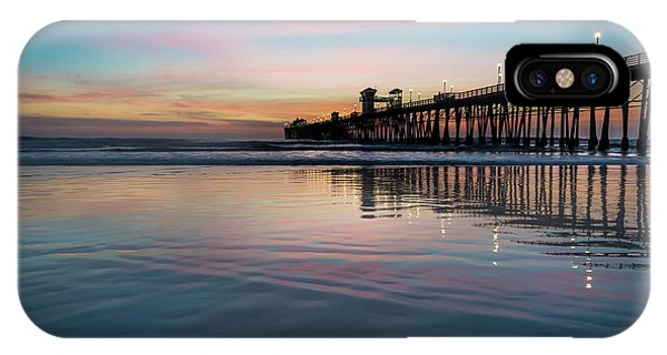 Orange Sunset iPhone Case - Oceanside Pier Sunset by Larry Marshall