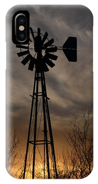 Oklahoma Windmill And Sunset IPhone Case