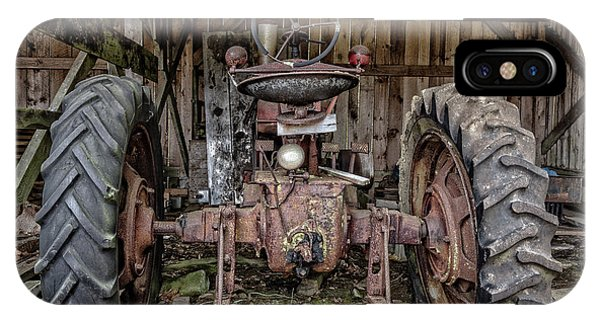 New England Barn iPhone Case - Old Tractor In The Barn by Edward Fielding