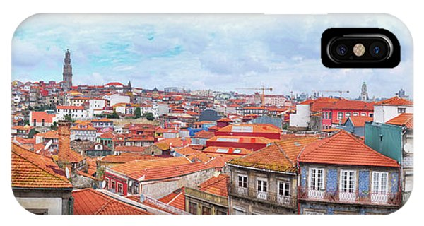 IPhone Case featuring the photograph panorama of old historic part of Porto by Ariadna De Raadt