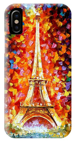 iPhone Case - Paris Eiffel Tower Lighted by Leonid Afremov