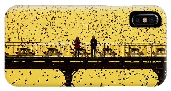 People On The Pier Sunset And Starlings In Aberystwyth Wales IPhone Case