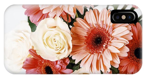 Pink Gerbera Daisy Flowers And White Roses Bouquet IPhone Case