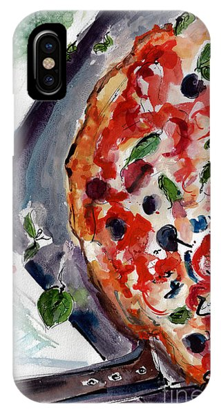 IPhone Case featuring the painting Pizza Diptych Original Italian Food Left Half by Ginette Callaway