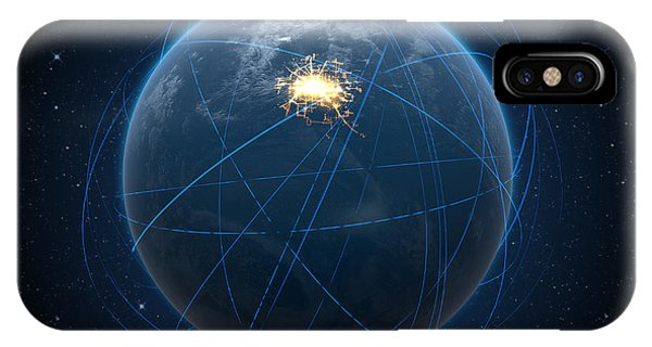 Developed iPhone Case - Planet With Illuminated City And Light Trails by Allan Swart