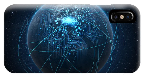 Digital Effect iPhone Case - Planet With Illuminated Network And Light Trails by Allan Swart