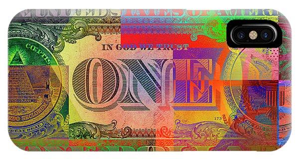 Artwork iPhone Case - Pop-art Colorized One U. S. Dollar Bill Reverse by Serge Averbukh