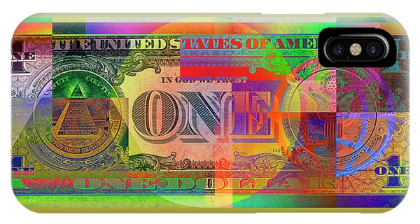 Pop Art iPhone Case - Pop-art Colorized One U. S. Dollar Bill Reverse by Serge Averbukh