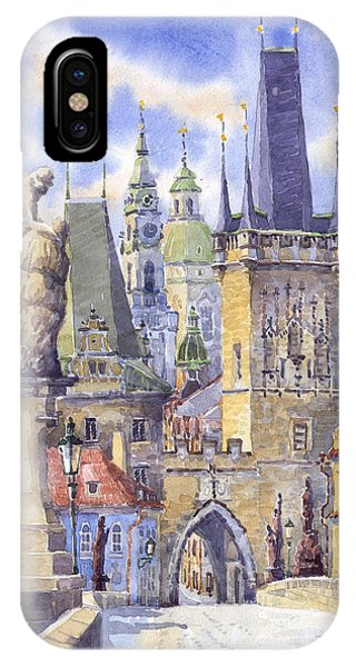 Watercolour iPhone Case - Prague Charles Bridge by Yuriy Shevchuk