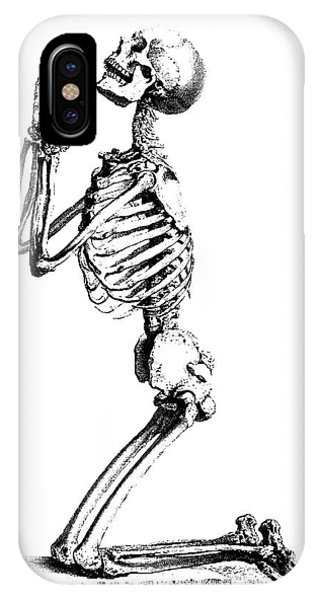 Bone iPhone Case - Praying Skeleton by William Cheselden