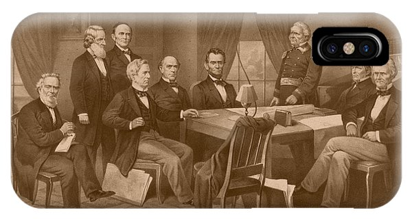 United States Presidents iPhone Case - President Lincoln - His Cabinet And General Scott by War Is Hell Store