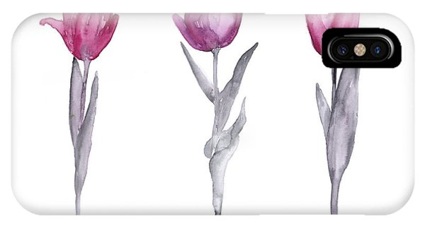 Garden iPhone X Case - Purple Tulips Watercolor Painting by Joanna Szmerdt